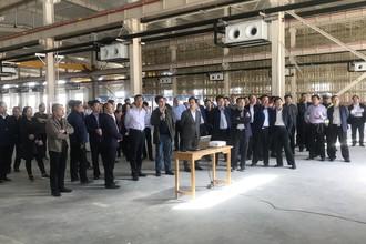 2018年4月8日荥阳市建项目观摩团参观河南金谷实业发展有限公司年产1500台机器人新厂项目